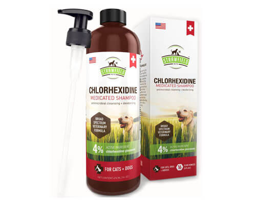 strawfield pets chlorhexidine shampoo, waterless cat shampoo